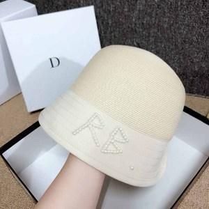 Женская соломенная шляпа QDKPOTC, новая модель весна-лето 2020 года, сшитая вручную, с жемчугом, модная Солнцезащитная шляпа из хлопка и соломы, вы...
