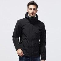 Color: Black Sky Blue Beige 2019 Autumn Winter New Men's Jacket Casual Fashion Outdoor Hoodie Jacket Large Size Men's Jacket