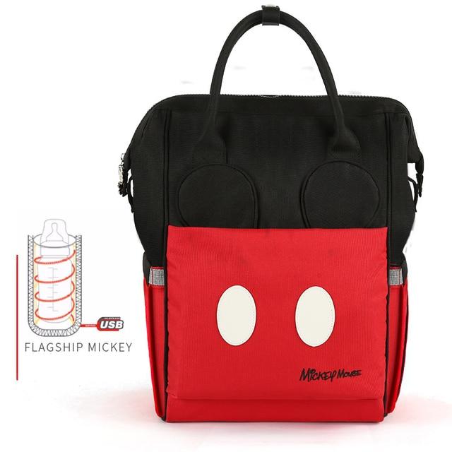 Disney Bottle Feeding Insulation Bags USB Oxford Cloth Diaper Storage Bag Backpack Fashion Waterproof Large Capacity Diaper Bags Bags Kids