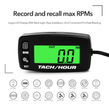 Lightweight Portable Backlit LCD Digital Tachometer Tach Hour Meter Stroke Engines Motorcycle Accessories
