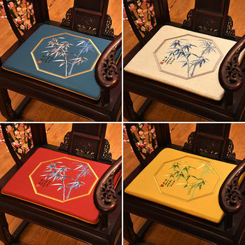 Fine Embroidery Bamboo Pattern Seat Cushion Sofa Chair Anti-slip Pads Cotton Linen Cushion Seats Dining Chair Armchair Seat Mats