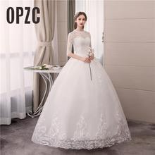 Foto real de luxo rendas bordado 2020 vestido casamento musselina meia manga doce elegante plus size vestidos noiva noiva