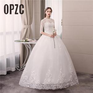 Image 1 - Real photo Luxury Lace Embroidery 2020 Wedding Dress Muslin Half Sleeve Sweet Elegant Plus Size Bride Gowns Vestido De Noiva
