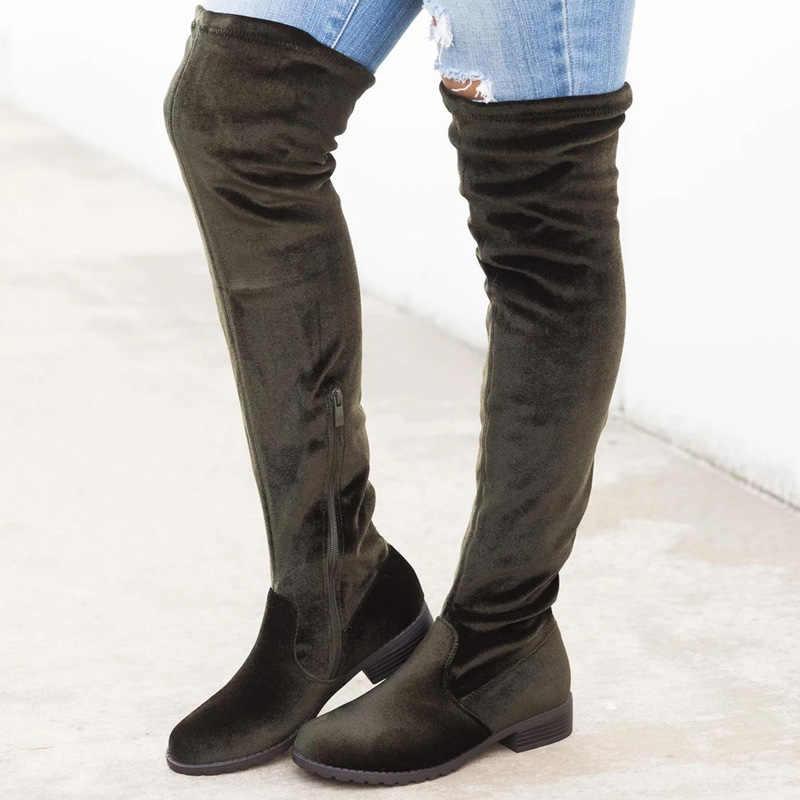 Femmes bottes sur le genou bottes femme bottes d'hiver Bota femmes chaussures cuisse talon bottes Bota femmes chaudes chaussures d'hiver Botas Mujer