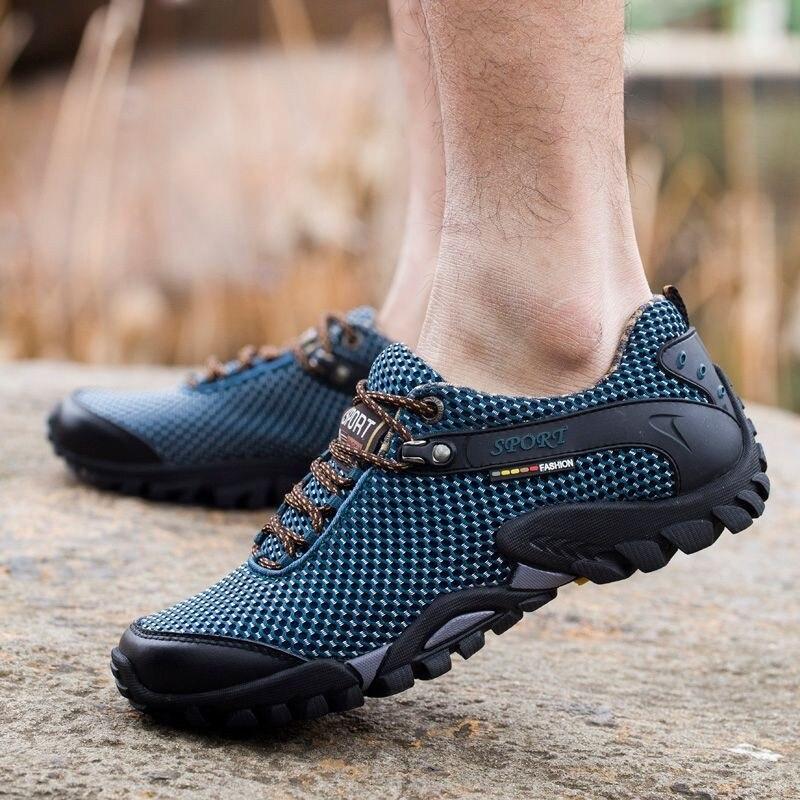 Açık yürüyüş ayakkabıları erkekler nefes örgü spor kamp tırmanma trekking ayakkabıları erkekler taktik Tiking ayakkabı erkekler yürüyüş spor ayakkabı