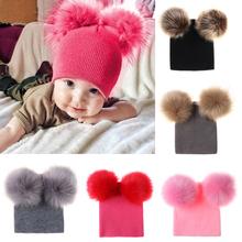 Dzieci kapelusz noworodek z dzianiny kapelusz z pomponem maluch dzieci zimowe ciepłe wełniane czapki dziania futro Pom Pom czapki chłopiec dziewczyny czapki tanie tanio hqclothingbox Bawełna Unisex Na co dzień baby hat Stałe Skullies czapki baby knit hat cotton baby hat baby caps and hats