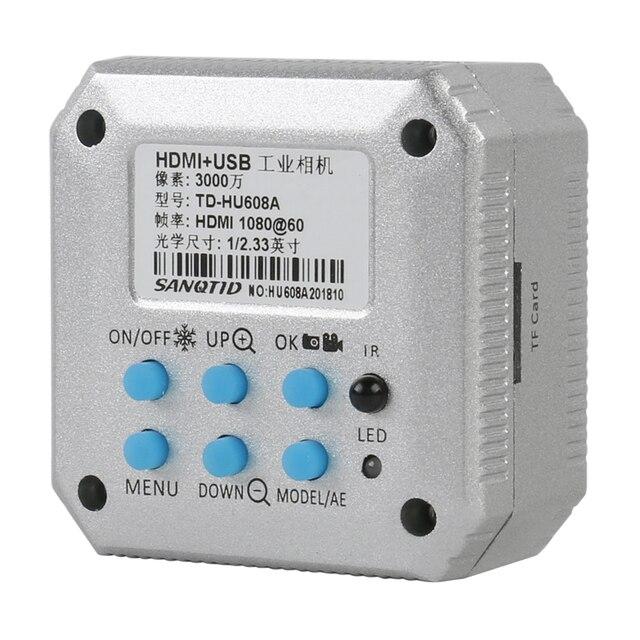 Professionnel numérique HD 30MP 1080P 60FPS USB HDMI industriel vidéo Microscope caméra SD carte enregistreur de stockage + télécommande IR