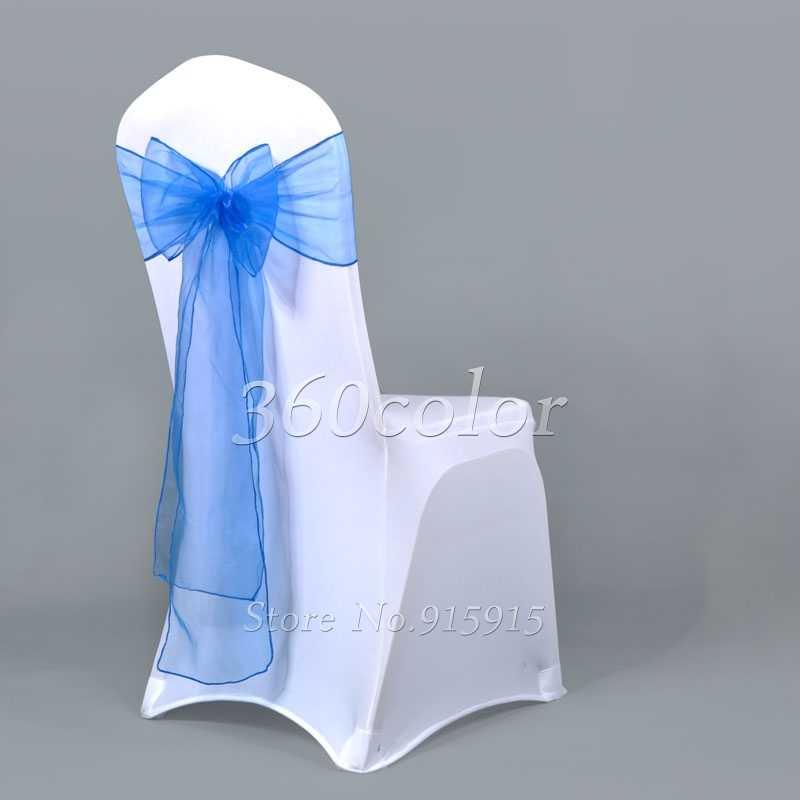 One Organza เก้าอี้ Sashes เก้าอี้ Bows สำหรับงานแต่งงานคริสต์มาสคริสต์มาสจัดเลี้ยงตกแต่ง 18x275 ซม.Sheer ผ้า