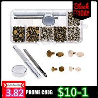 120 Sets/Pack Leather Repairing Decor Rivets Tubular Metal Leather Craft with Fixing Tool Kit  Replacement Tool #254973