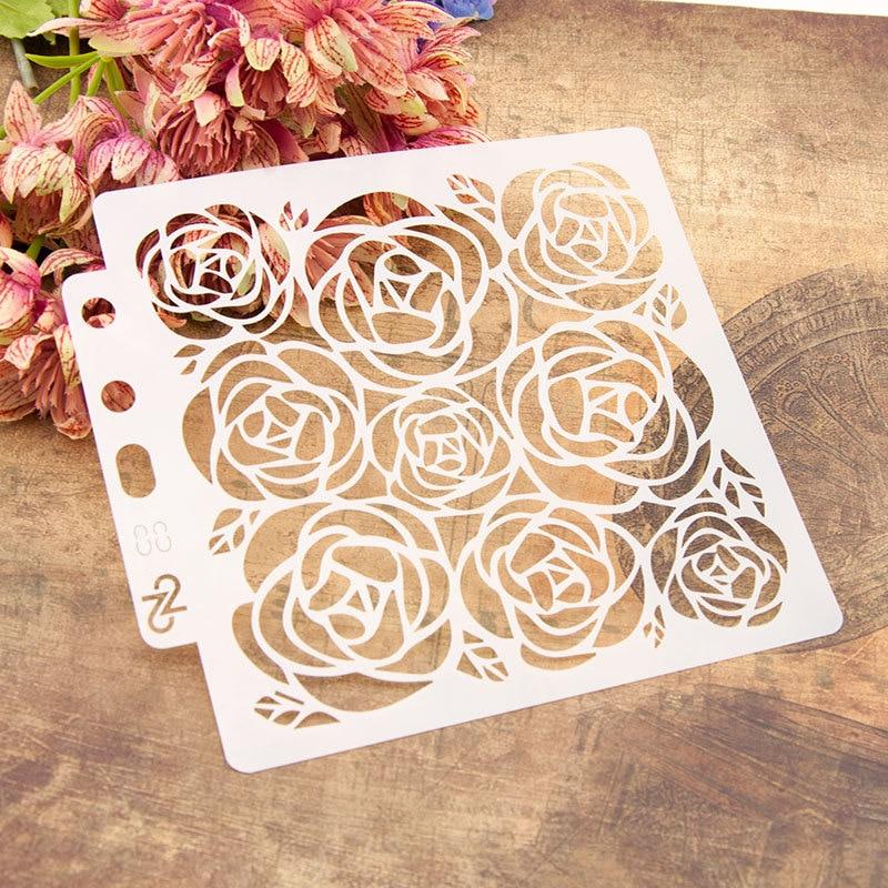 13*14 см цветы розы DIY слойные трафареты картина фотография шаблон