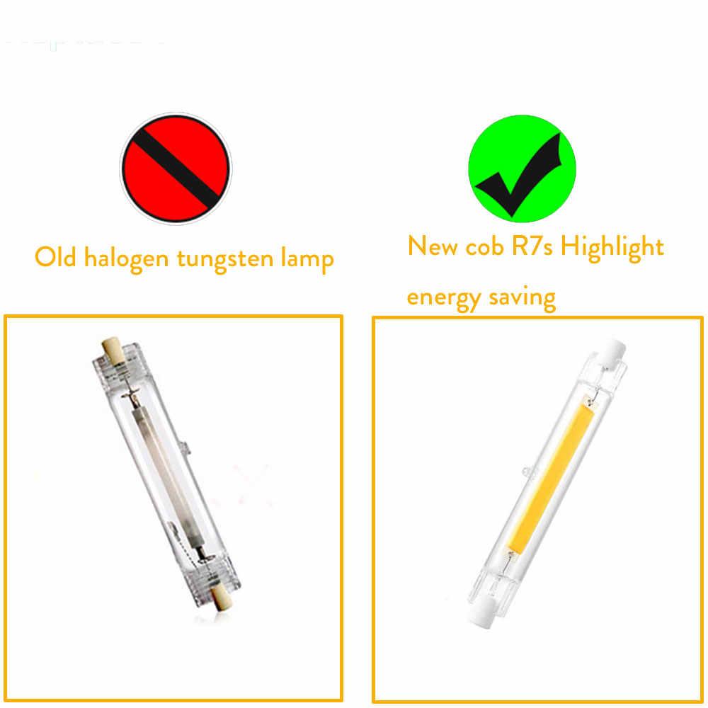 R7S 78mm 118mm céramique, en verre COB 3W 5W 7W 12W 15W 20W remplacer la lampe halogène puissante ampoules à tache