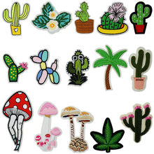 Cactus Mushroom Plant Iron On Patches Sewing Embroidered Applique for Jacket Clothes Stickers Badge DIY Apparel Accessories(China)