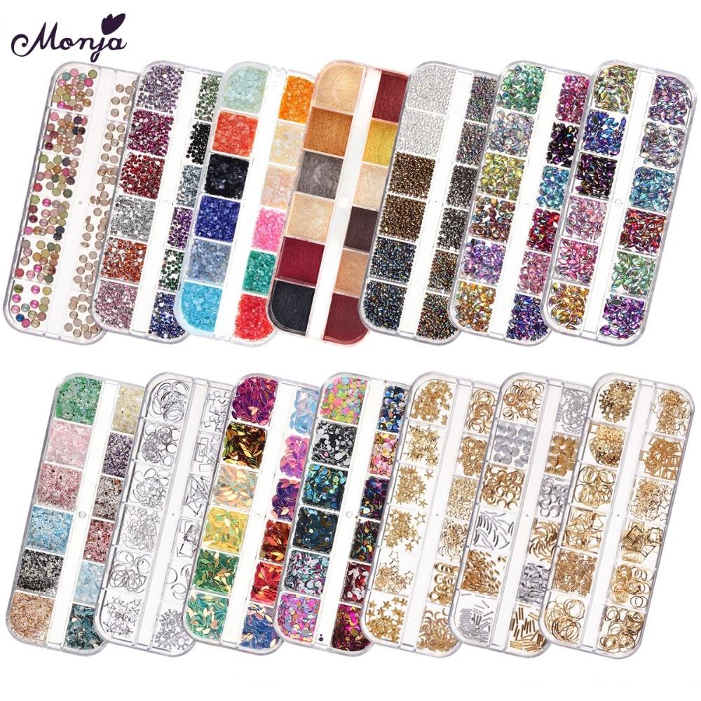 Monja 12 ячеек 1/2/3 мм дизайн ногтей искусство бриллианты круглые ультратонкие блестки пайетка 3D очаровательные блестящие хлопья украшение для ...
