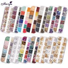 Lantejoulas ultrafinas 3d, monja 12 grades 1/2/3mm arte em unhas, cores aleatórias, redondas e ultrafinas decoração de manicure com flocos de glitter