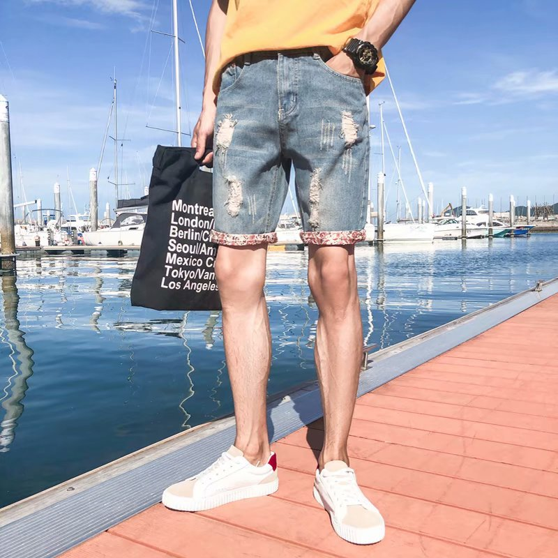 2018 Summer Korean-style Shorts Men's Cat Whisker With Holes Denim Shorts Men's Casual Trend 5 Pants MEN'S Middle Pants
