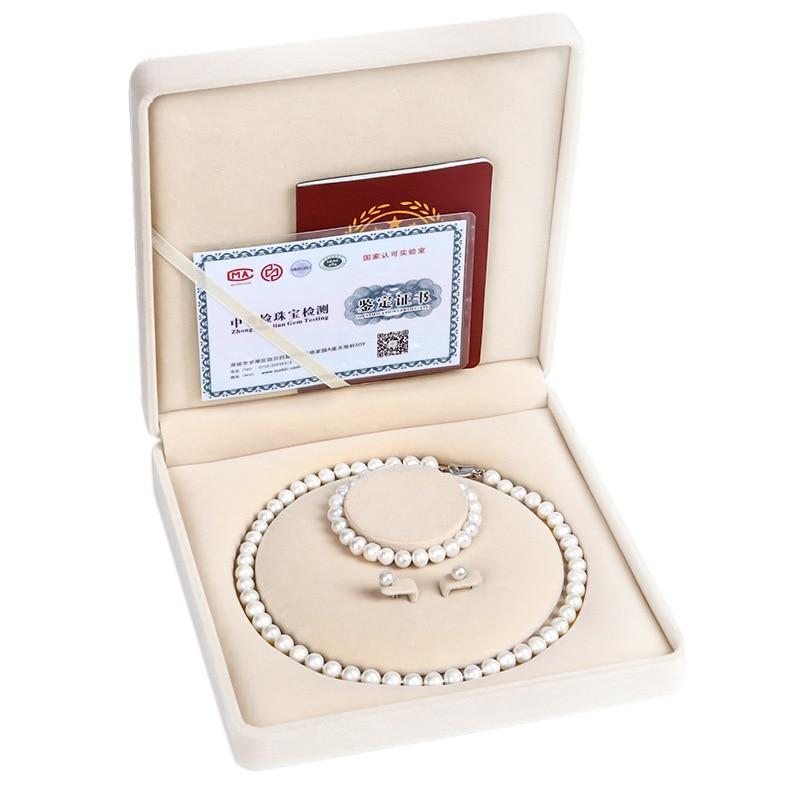 Cadeaux de Promotion de jour de noël en argent Sterling naturel collier de perles d'eau douce ensemble pour les femmes maman belle-mère cadeaux pour aînés