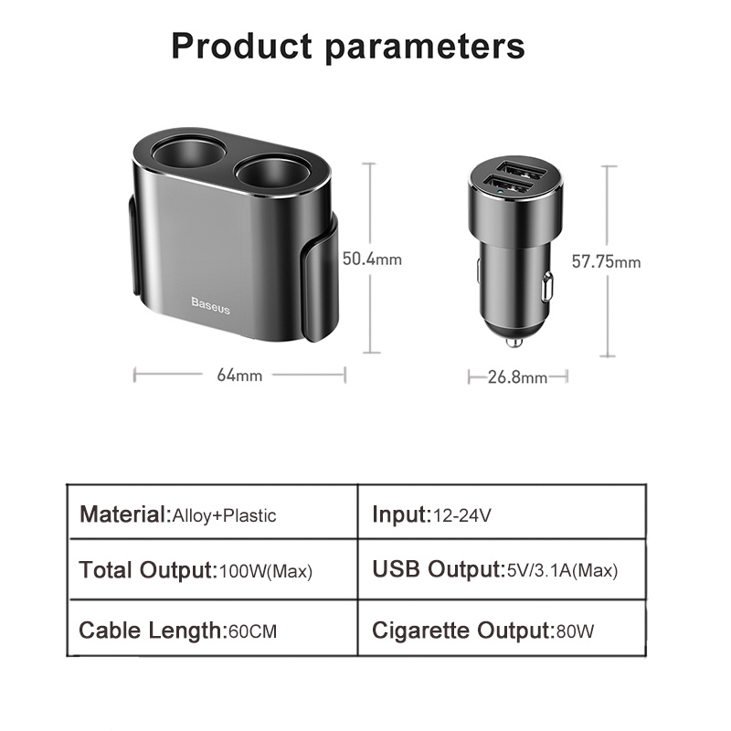 Image 2 - Baseus Dual USB Car Charger 3.1A 100W Socket Cigarette Lighter Splitter for Iphone XS 11 Samsung Phone Car Charger Auto Expander-in Power Adapter from Automobiles & Motorcycles