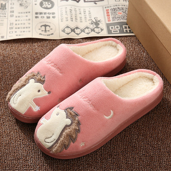 Cute Hedgehog Women Winter Home Slippers Cartoon Animal Slip On Soft Winter Warm House Shoes Men Women Slippers Indoor Bedroom 5