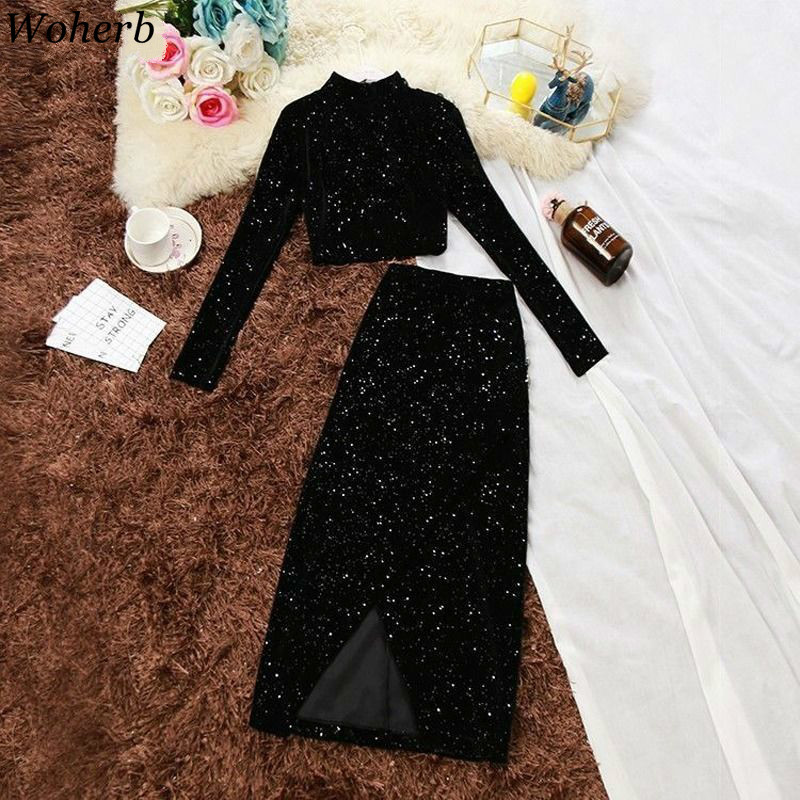 Woherb Gold Velvet 2 Piece Set Women Turtleneck Long Sleeve Crop Top Shirt + Split Elastic Waist Skirt Sequins Fashion Outfits