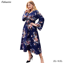 Maxi Floral Print Autumn Dress Woman Plus Size Flare Sleeve Boho Chiffon Dress 4XL V Neck Elegant 2019 Fashion Long Dress Women plus trumpet sleeve flare floral dress