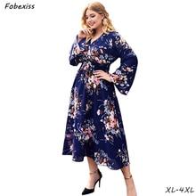 Maxi Floral Print Autumn Dress Woman Plus Size Flare Sleeve Boho Chiffon Dress 4XL V Neck Elegant 2019 Fashion Long Dress Women sheer v neck flare sleeve maxi dress