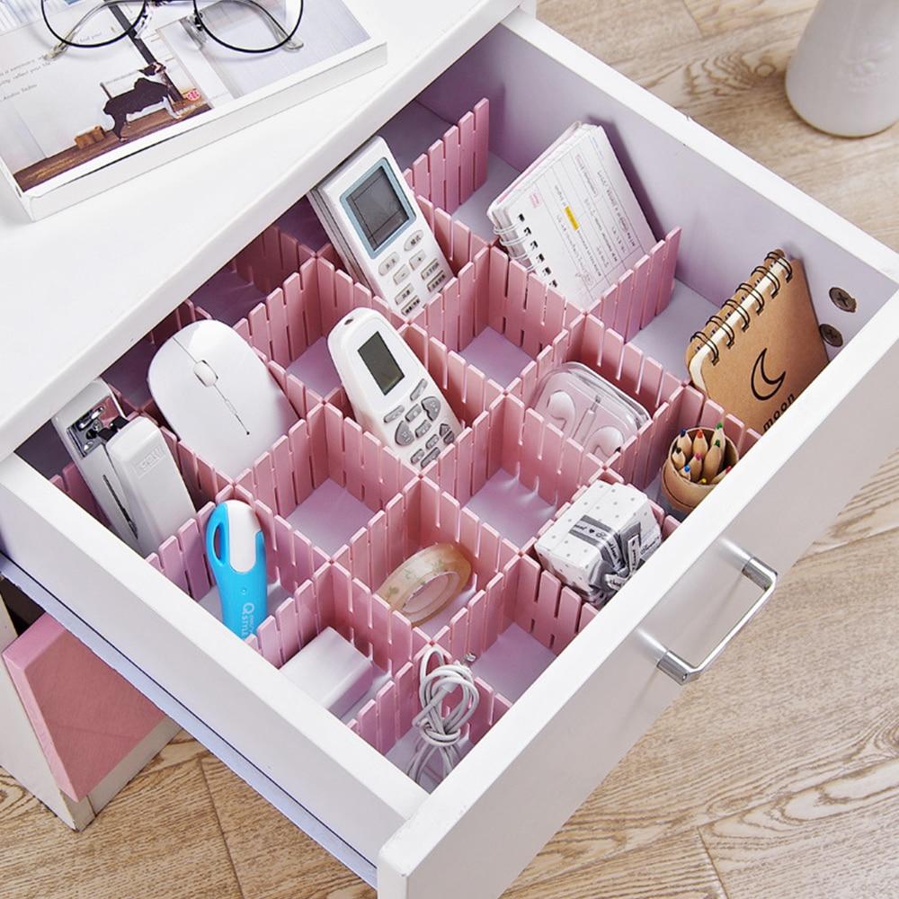 Drawer Dividers, Drawer Divider Organizers 4 PCS DIY Plastic Grid Adjustable Plastic Divider Household Storage Makeup Storager