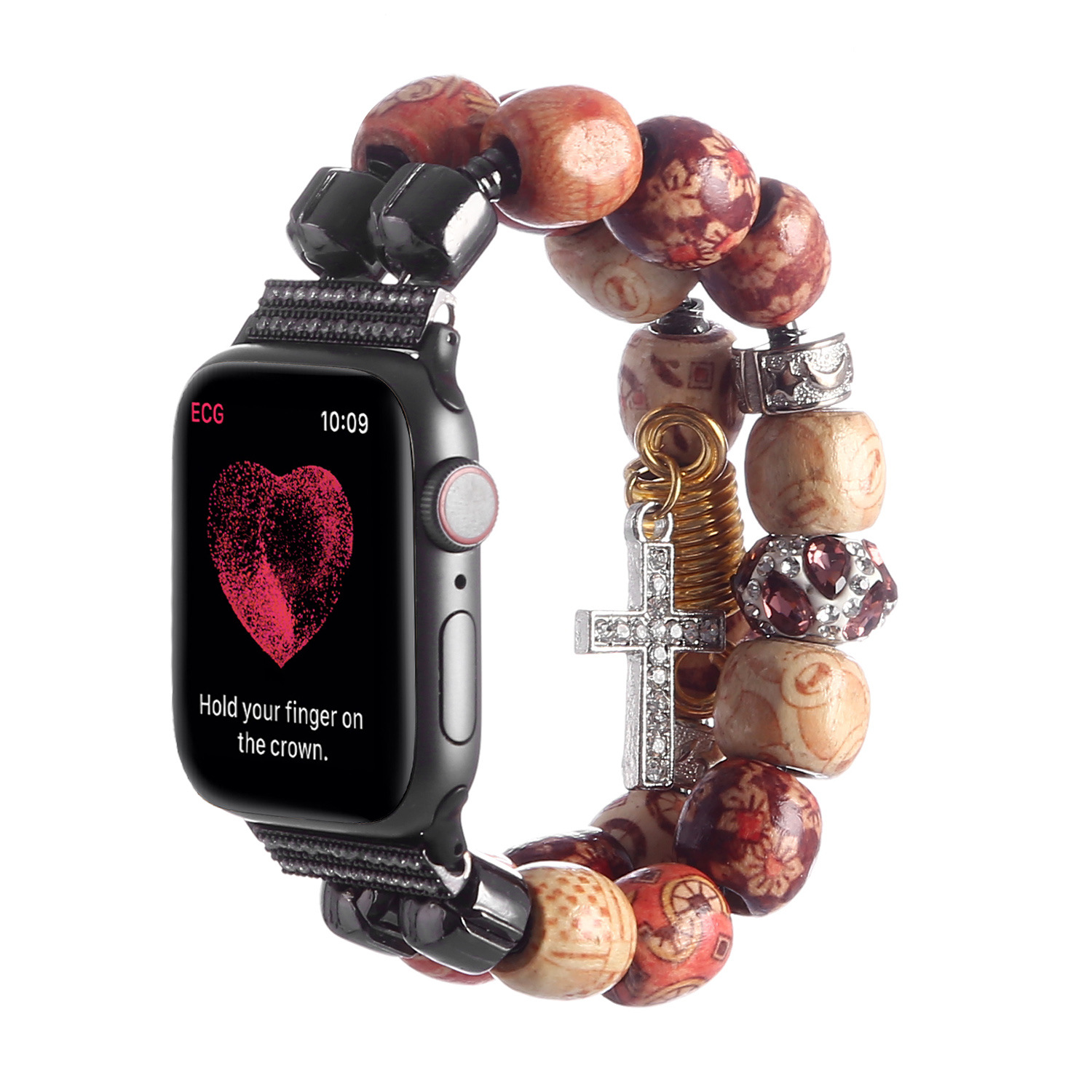 Suitable For Apple Watch APPLE Watch Three Four Generations Handmade DTY Wooden Bead And Adjust Accessories Watch Strap