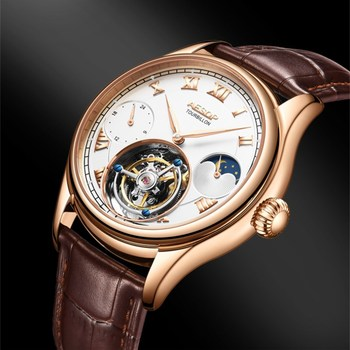 42mm Multi-function Men's Tourbillon Mechanical Watch Luminous Hands Sapphire Clock High-end Business Men Watches Moon Phase 1