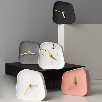 Nordic Home Decoration Accessories Geometry Shaped Cement Table Clock Desktop Decoration Mute Concrete Small Desk Clock 1