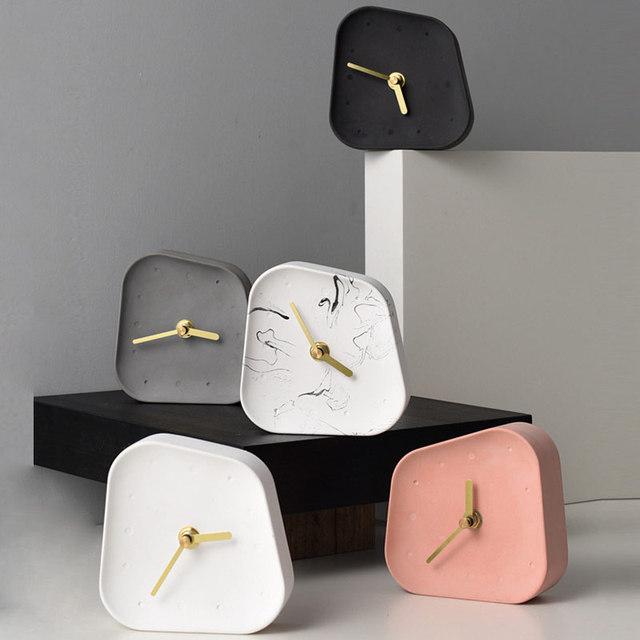 Nordic Home Decoration Accessories Geometry Shaped Cement Table Clock Desktop Decoration Mute Concrete Small Desk Clock 1