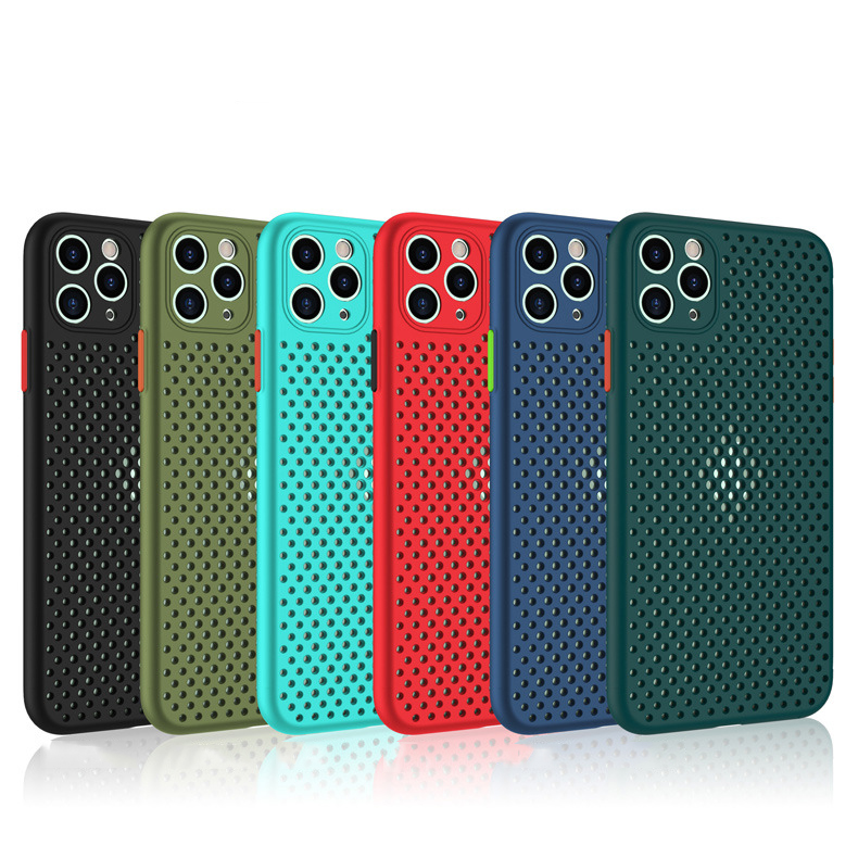 10pcs Mesh Honeycomb Dissipation Soft Silicone TPU Shockproof Case Cover For iPhone 12 Mini 11 Pro Max XS XR X 8 7 6 6S Plus SE|Fitted Cases| - AliExpress