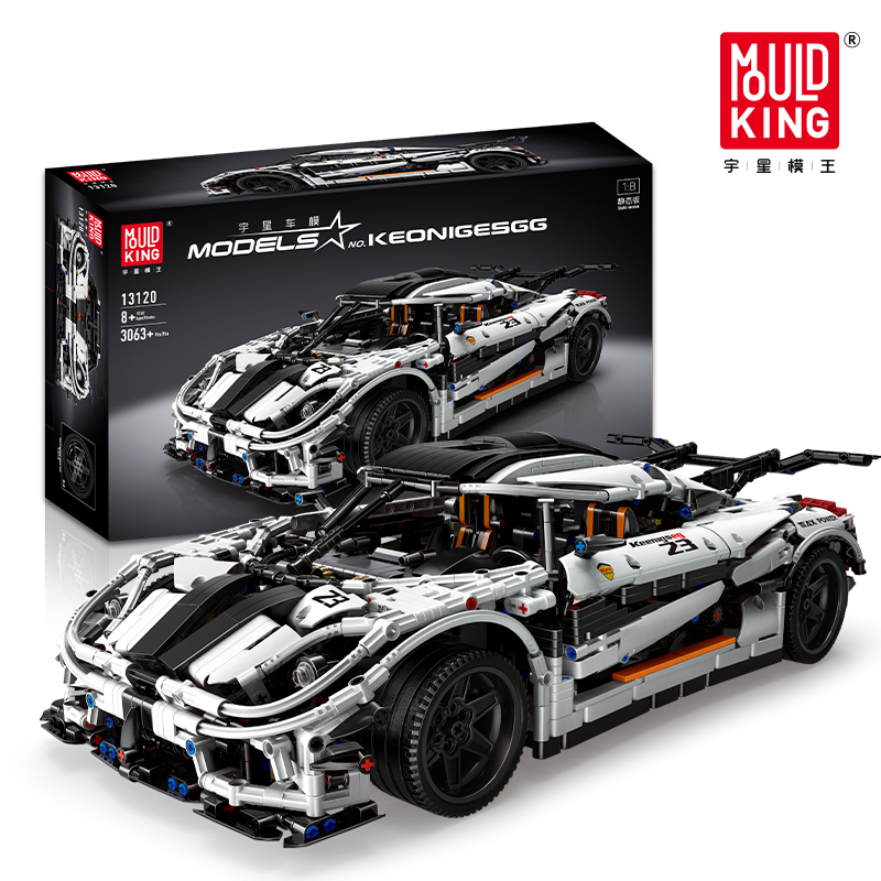 MOC-4789 Koenigseggd Sports Racing White Car Lepining 23002 Technic Model Kit Building Blocks Bricks Toys For Children Boy Gifts