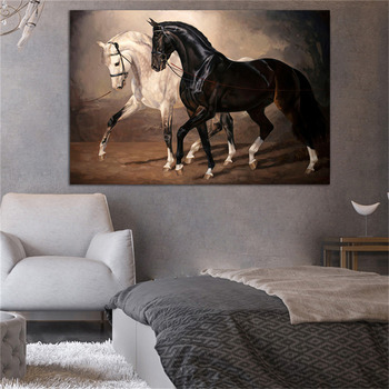 Black and White Horse Wall Art Canvas Prints Modern Animal Paintings On The Pictures Posters Decor