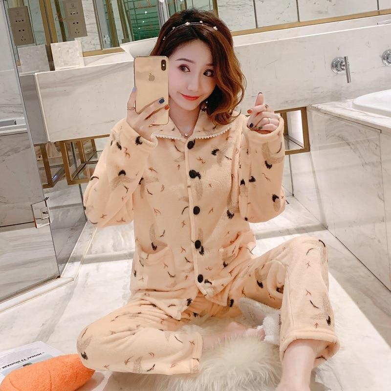 Coral Velvet Pajamas Women's Autumn & Winter Long Sleeve Korean-style Cute Cardigan Flamingo Tracksuit Flannel Outer Wear Set