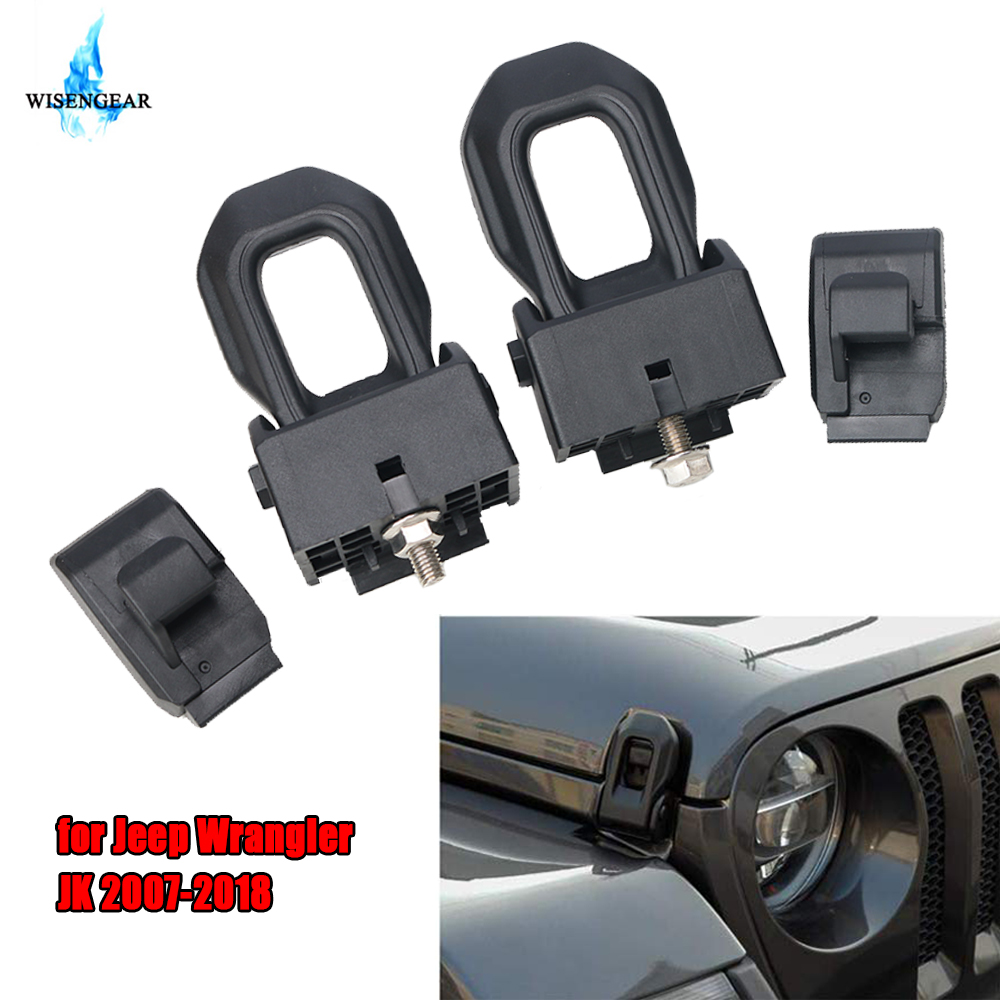 Car Engine <font><b>Hood</b></font> Lock Catch <font><b>Latch</b></font> For <font><b>Jeep</b></font> Wrangler JK 2007-2018 Stainless Steel ABS Engine Locking <font><b>Hood</b></font> <font><b>Latches</b></font> Cover Styling image