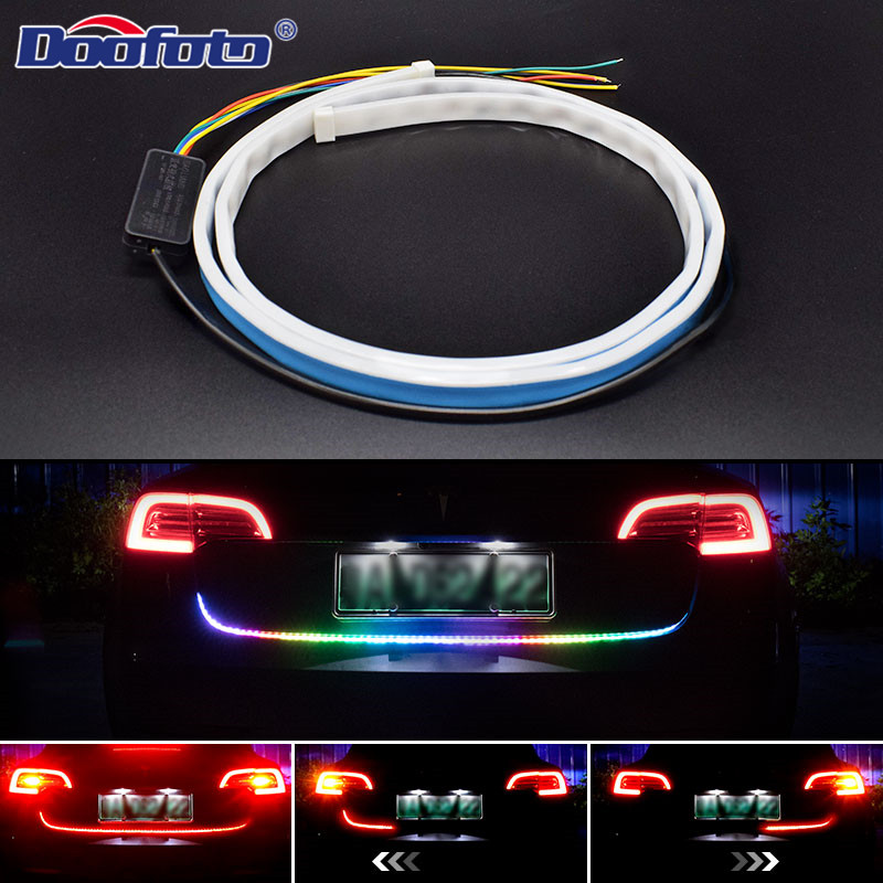 120cm Car Accessories Flexible Auto Trunk Tail Brake 60 LED Strip Flash High Rear Additional Stop Light Turn Signal Running Lamp