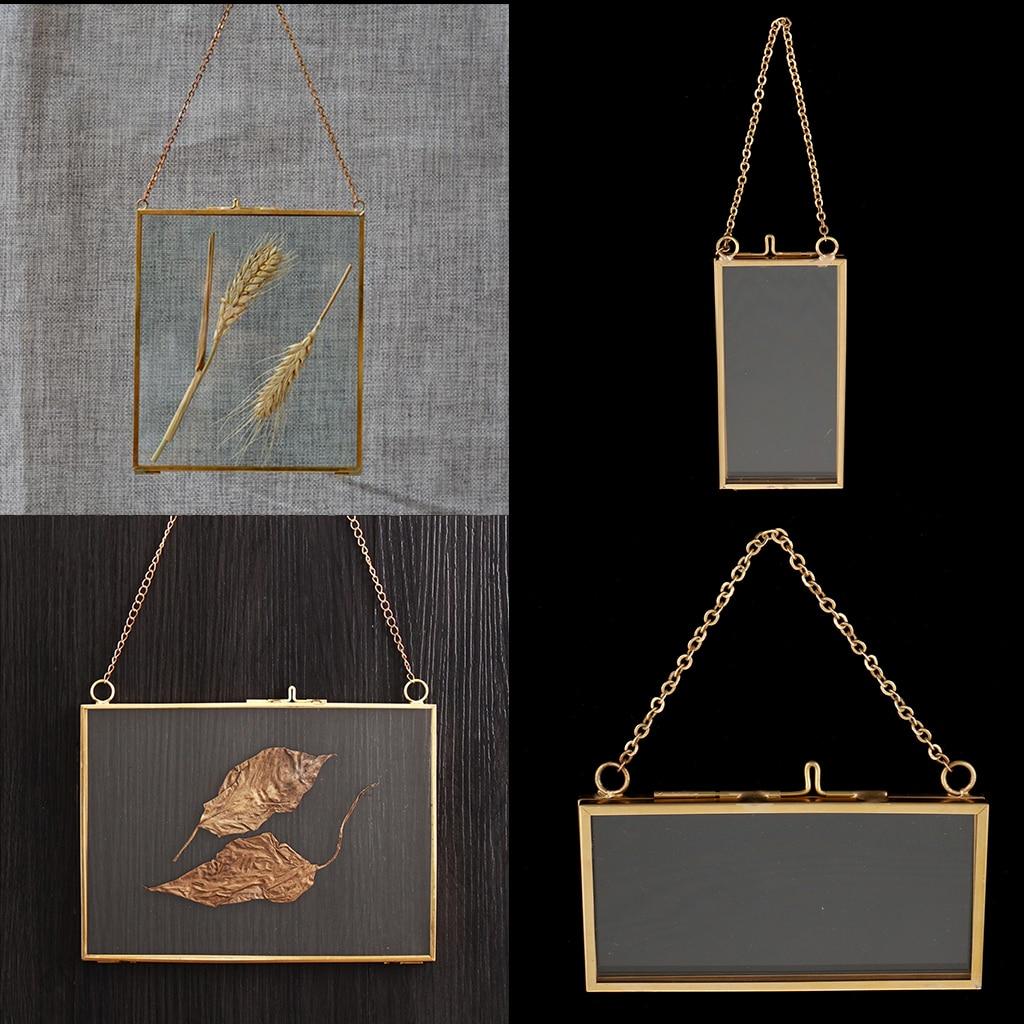 2 шт., 2-стороннее подвесное стекло, фоторамка, образец растения, держатель сухоцветов