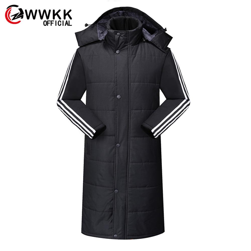 Мужская куртка с капюшоном WWKK, толстая длинная свободная куртка большого размера, зима 2019