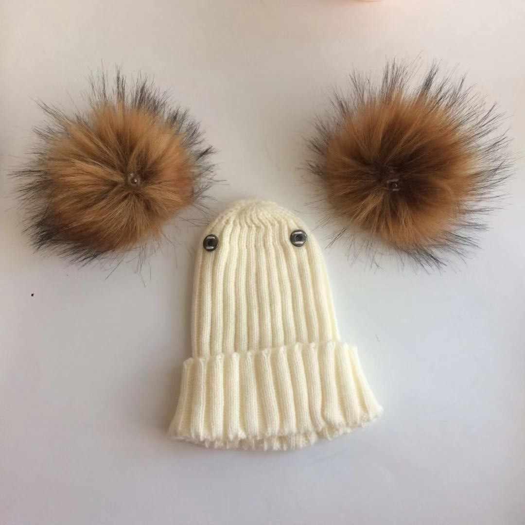 เด็กฤดูหนาวเด็กวัยหัดเดินเด็กทารก faux FUR หมวกหมวก Beanie กับ 2 สอง Pom Pom PomPom หูตลกหมวกสำหรับชายหญิง