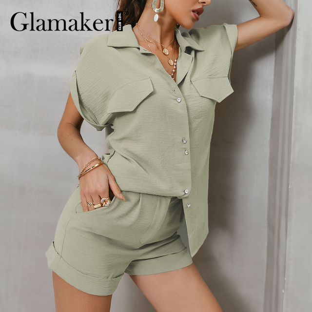 Glamaker Green two piece suit short sleeve shirt and shorts Women loose casual summer playsuit Female 2021 new office lady sets 5