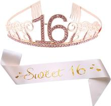1Pcs Doce 16 Sash 16th Das Meninas Coroa de Aniversário Decoração Fontes do Partido de Aniversário Do Favor de partido Presentes para meninas bonitas