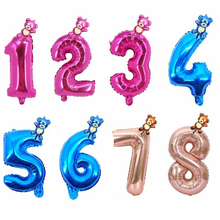 2pcs 40inch Rose Gold And Blue Number Foil Balloons Bear Birthday Party Decorations kids Ballons Babyshower Boy Girl Toys