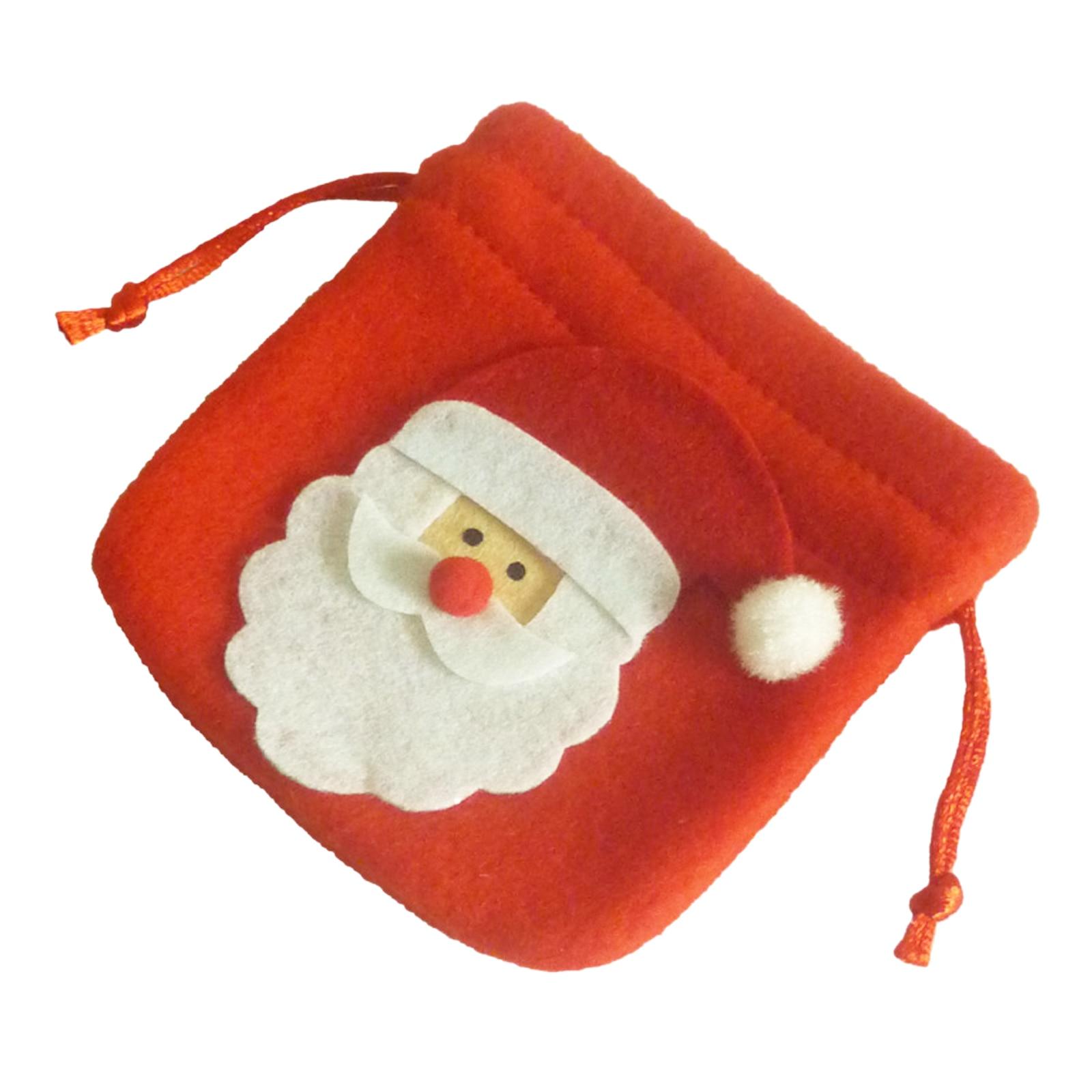 Cartoon Santa Claus Snowman Elk Drawstring Bag Candy Gift Handbag Bag Pouch Xmas New Year Party Supply