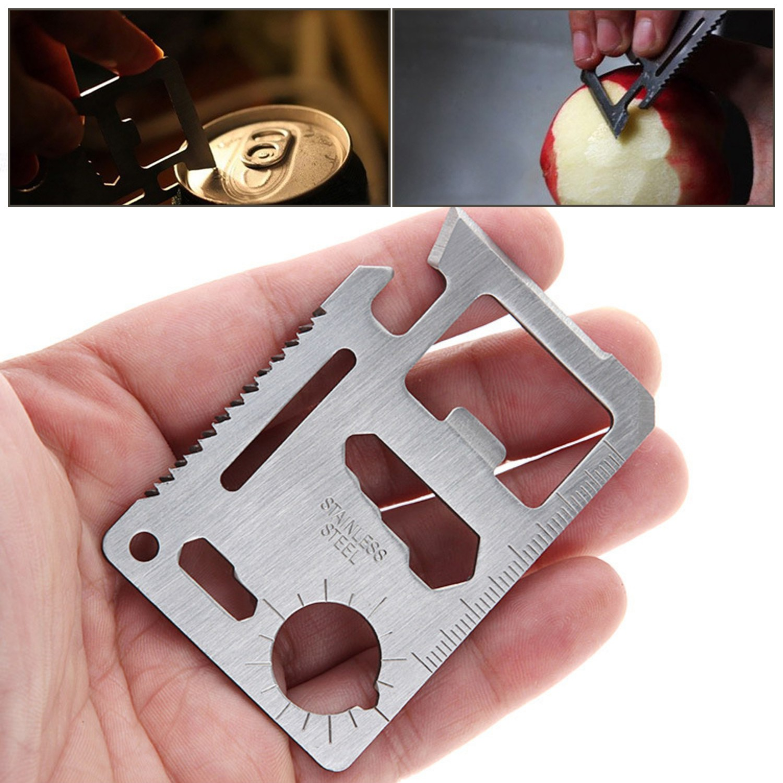 Купить с кэшбэком 11 In 1 Pocket Tool Camping Multi Knife Credit EDC Outdoor Bottle Survive Gear Card Multipurpose Gadget Camp Opener Wallet Kit
