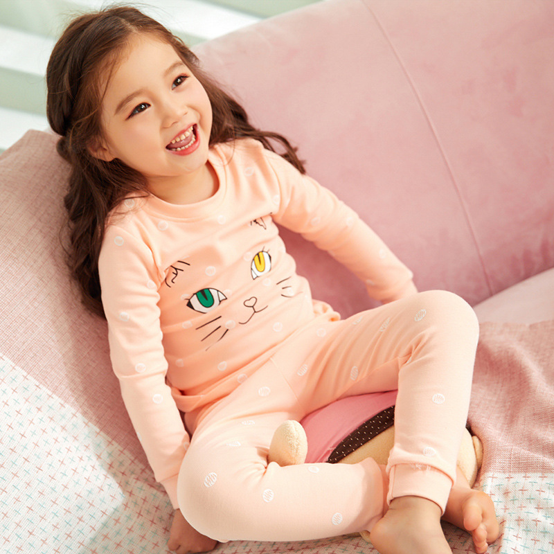 2019 New Style CHILDREN'S Underwear Suit Pure Cotton BOY'S Girls Cotton Jersey Autumn And Winter Pajamas Thermal Underwear Track