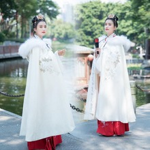 Cape Chinese-Ancient Women Hanfu Hooded-Cloak Christmas-Costume Traditional White Plus-Size