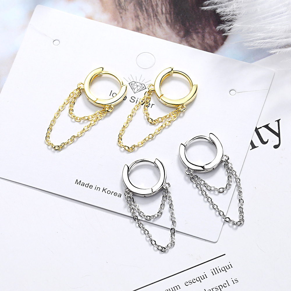 Gold Silver Long Chain Earring For Women 925 Sterling Silver Earrings Fashion Silver Jewelry korean New 2020 oorbellen