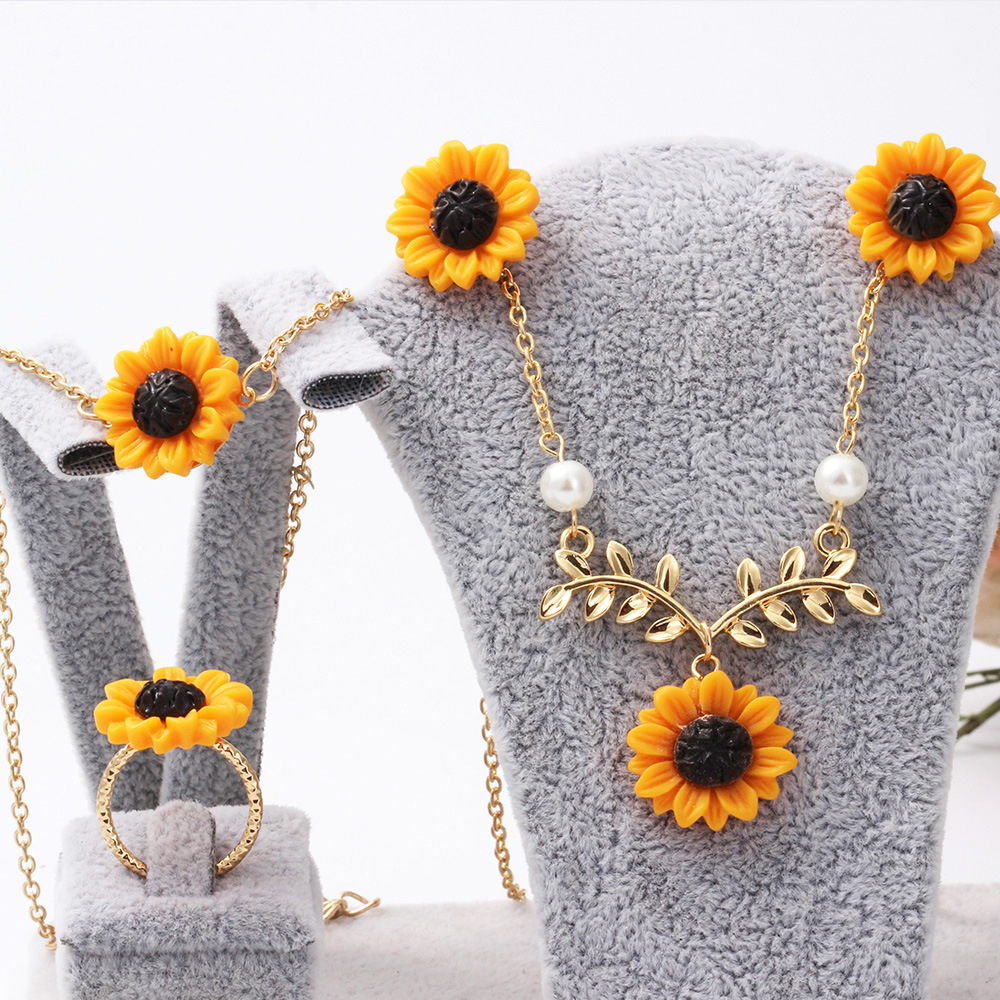 Fashion Creative Sunflower Rose Flower Gold Silver Necklace