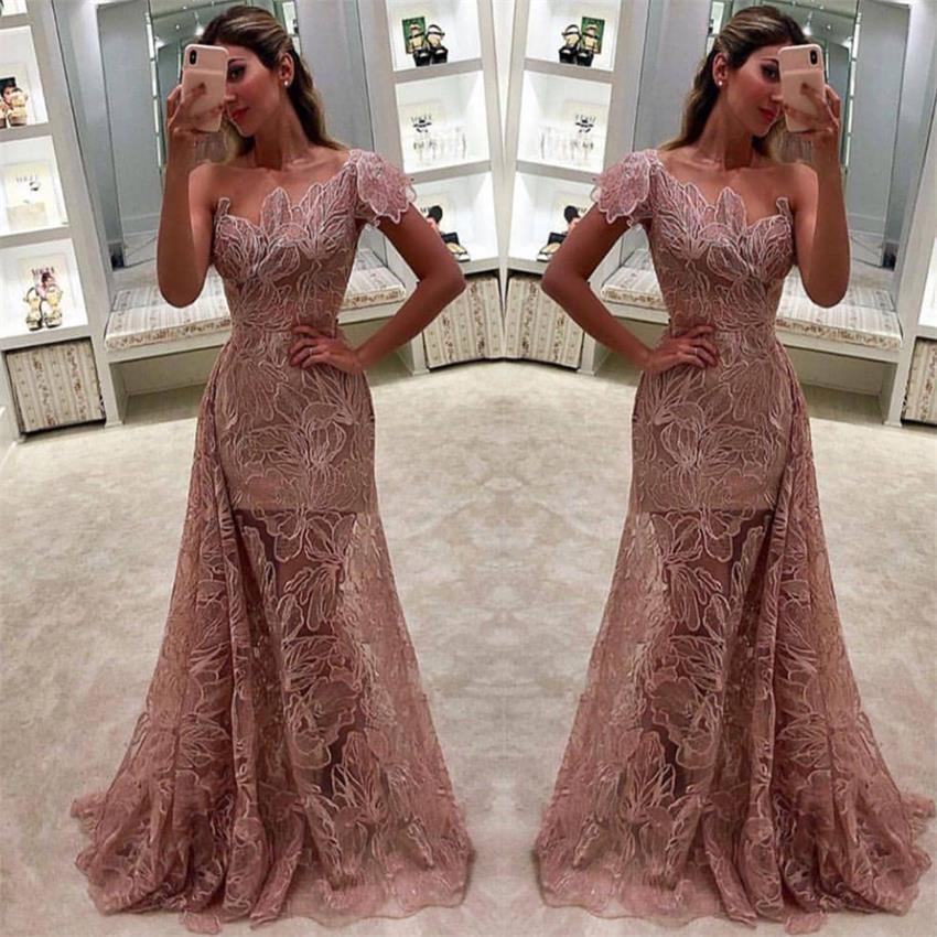 Lace Bridesmaid Dress 2020 One Shoulder Mermaid Blush Wedding Dresses Gowns Arabic