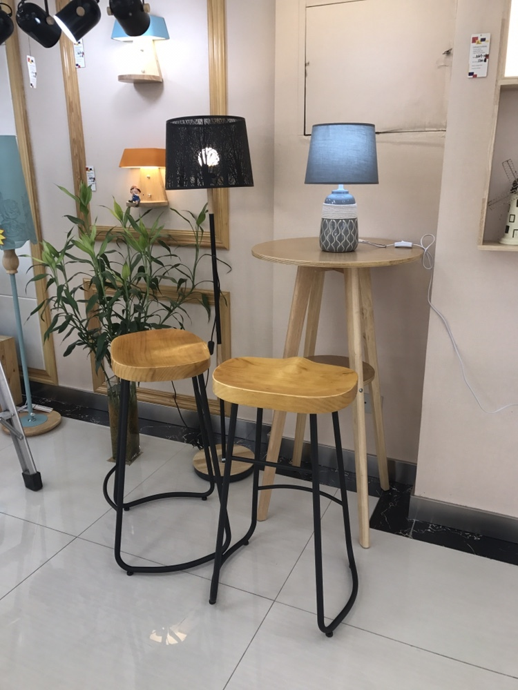H Modern Simple Iron Foot Stool Surface Solid Wood Bar Stool Home High Chair Coffee Shop Cold Drink Shop Bar Stool